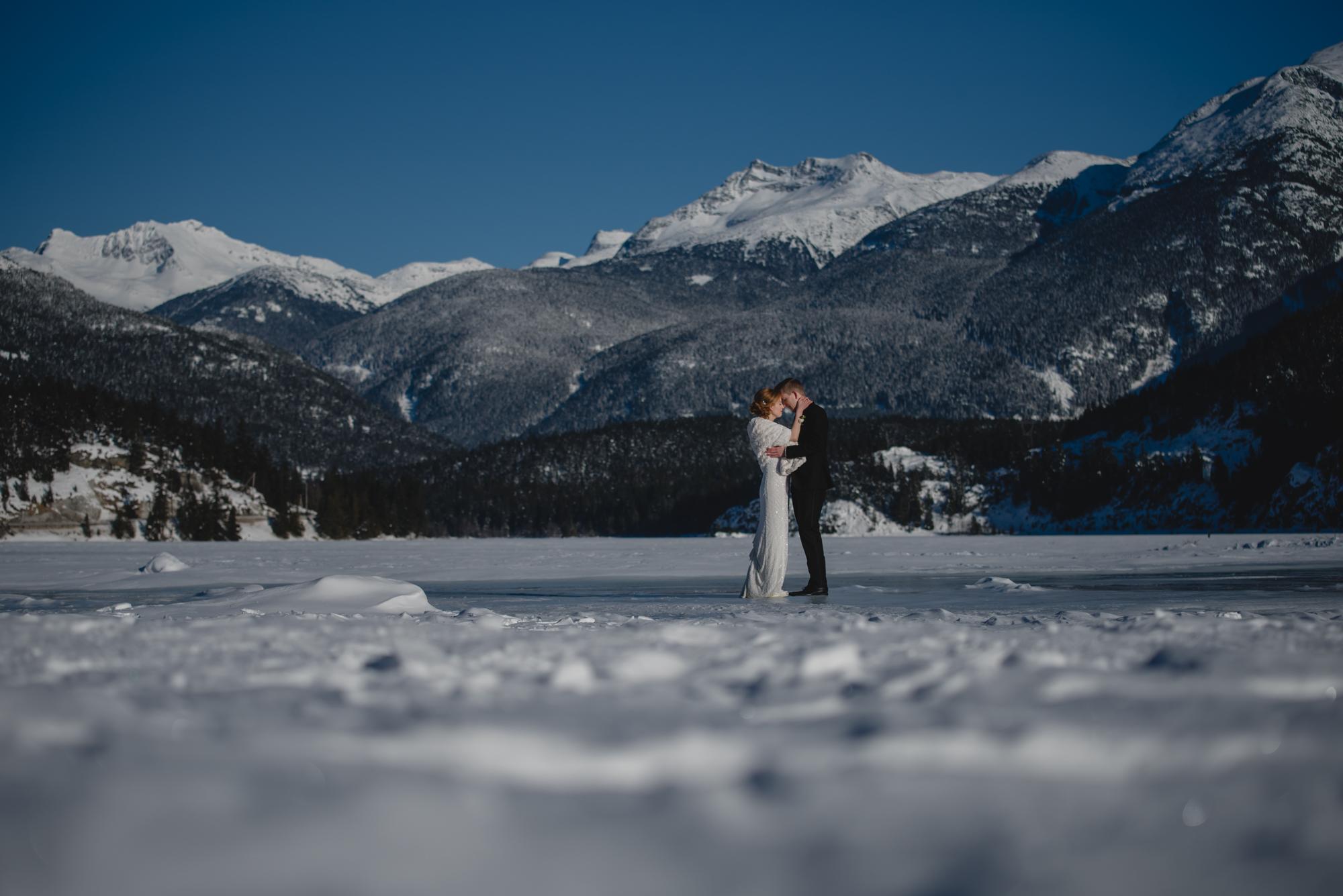 whistler frozen lake wedding