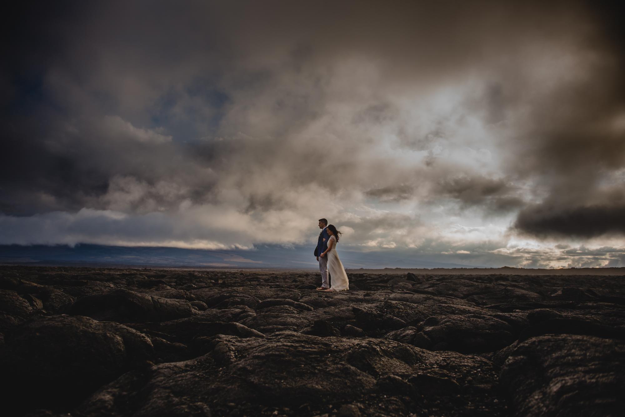 destination wedding photography hawaii lava field