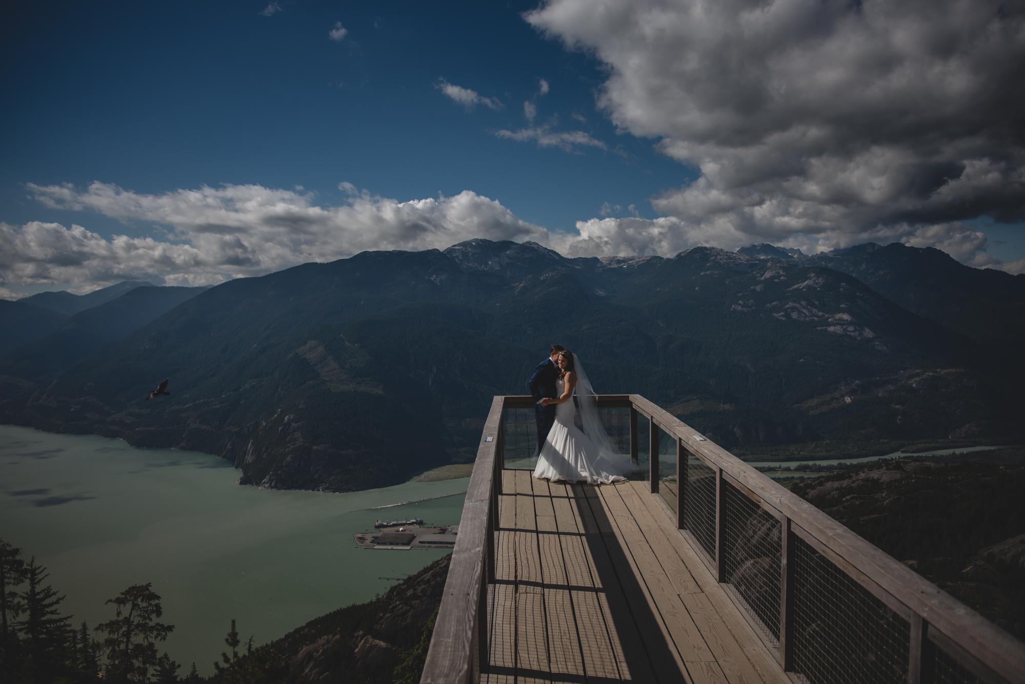 sea to sky gondola deck wedding bride and groom