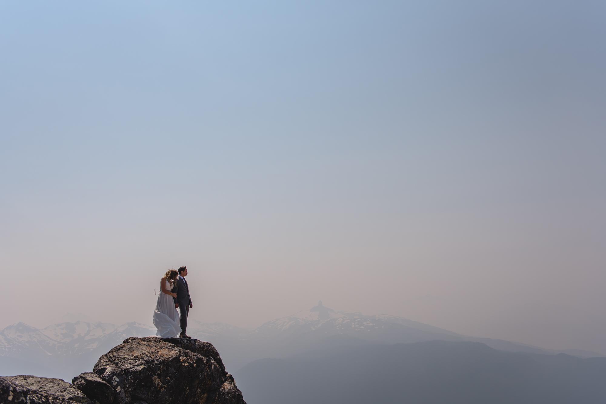 whistler peak wedding couple with black tusk